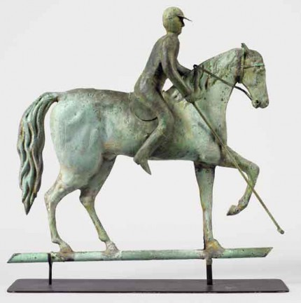 """Polo Weathervane"" c. 1880, Copper full-bodied horse and rider with castings, Original verdigris surface, Custom Orders Available"