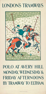 """Polo at Avery Hill"" c. 1925, Original poster for London Tramways, Linen mounted, 28 x 14 inches"