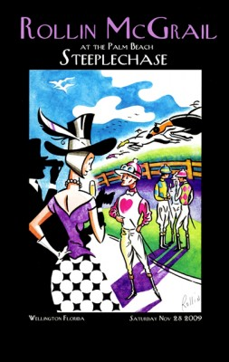 """Palm Beach Steeplechase 2009 """"Meet The Jockeys"""" Framed Poster Print, 17 x 11 inches, Framed: 19 x 13 inches, Signed"""