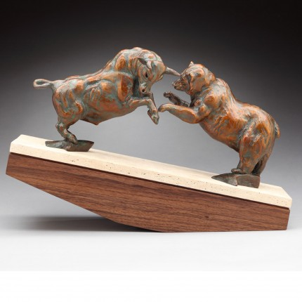 """Market Forces"" Bronze, Edition of 17, 18 x 26 inches - The bull and bear clash in the classic dual to be on top. The travertine base tips in the favor of the bull or bear."