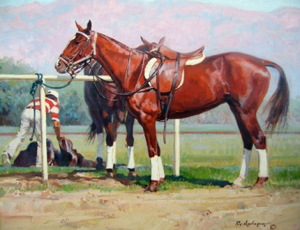 "Roy Anderson ""Polo Ponies"" Oil on cavnas"