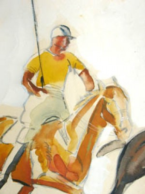 """Polo Players Cleveland, Ohio: 1934 - II"" Graphite and watercolour on illustration board, 17 x 13 inches, Signed in pencil and dated lower right: Lorin Black – 34"
