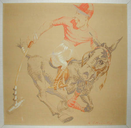 Polo Player Caricature American: Mid 20th Century, Oil on canvas board, 29.5 x 29.5 inches, 37 x 37 inches, Framed, Signed lower left: K.S. MacIntire