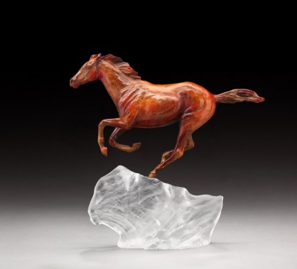 """Fire and Ice"" Thoroughbred filly running on an iceberg like fire melting the ice in her wake."