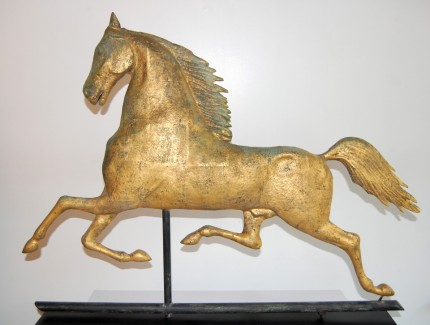 """""""Antique Blackhawk Weathervane"""" Late 19th Century, Full bodied molded copper, 35 x 31.5 x 3 inches"""
