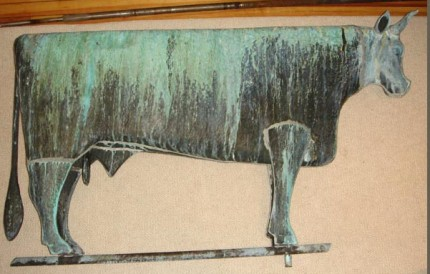 """Antique Bull Weathervane"" (Other view) 1890-1910, Copper, 48 inches long"