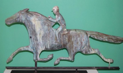 """Horse & Rider Weathervane"" 1910-1930's, Fantastic verdi gris patina, 29 x 17 inches, Museum mounted, Great detail"