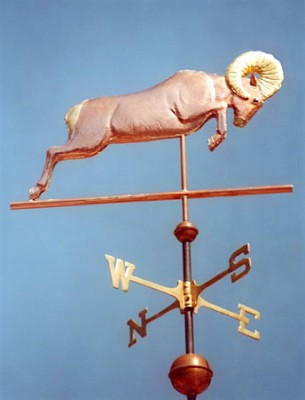 """Bighorn Sheep Weathervane"" (Ovis canadensis) Copper & Brass, Optional: Gold leaf on ram's horns or rump markings and muzzle, Custom glass eyes"