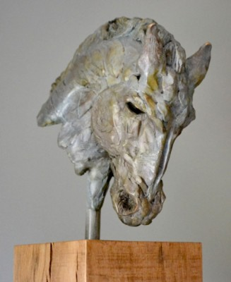 """Etruscan Horse"" Limited Edition: 12, Bronze & Oak, 90 x 22 x 28 cm, Signed"