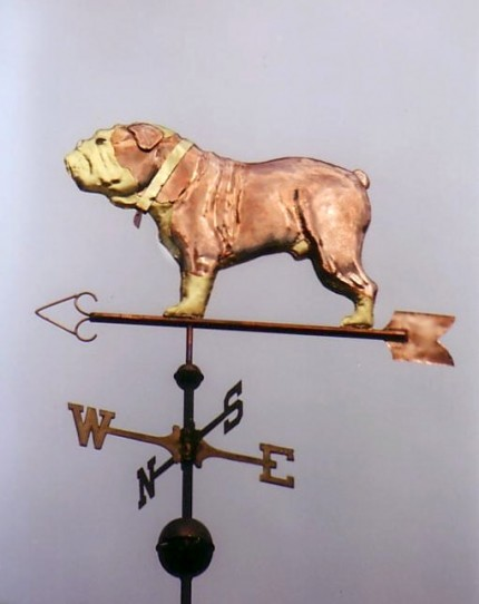 English Bulldog Weathervane, Small: 9 x 14 inches, Medium: 16 x 25 inches, Large: 24 x 37 inches, X-Large: 31 x 48 inches | Optional Gold Leaf Markings, Optional Brass or Gold Leaf Color, with optional tag.