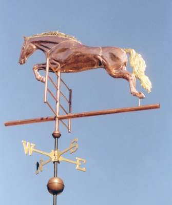"""Jumping Horse Weathervane"" West Coast Weather Vanes offers two versions of a Jumping Horse Weathervane, with or without a rider.  The Jumping Horse featured in the customer photos is a 4-foot version of this design.  In the large photo above we have gold leafed the horse's mane and tail."