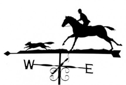 Silhouette Huntsman and Fox Weathervane