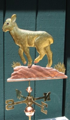 """Lamb Weathervane"" Copper, Swell body style, Optional: gilded with gold lead, handmade glass eyes in a variety of colors, Optional: Collar with tags or bells with inscription. 