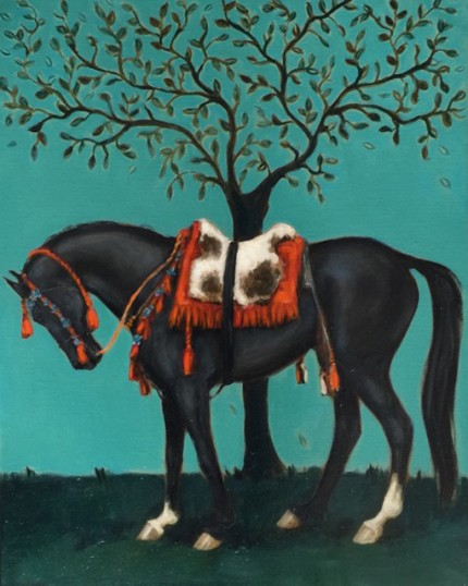 """Jordanian Horse II"" Oil on Linen, 14  x 11 inches, Signed"