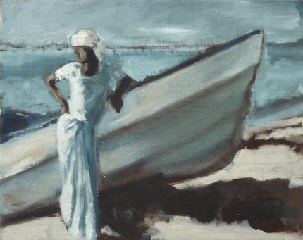 """Man on the Beach with a Boat"" Oman - Studies in Light, Oil on archival board, 8 x 10 inches, Signed"