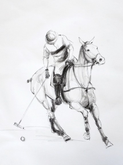 """Polo Study - Charcoal Sketch II"" Mashomack Polo Club - Polo Player Tapping the Ball, Charcoal & Wash on paper, 14 x 11 inches, Signed"