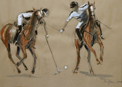 """Polo Study - Gouache Sketch IV"" Haviland Hollow Polo Club - Two Polo Ponies, Gouache & Prisma pencil on brown paper, 11 x 14 inches, Signed & Dated: 2010"