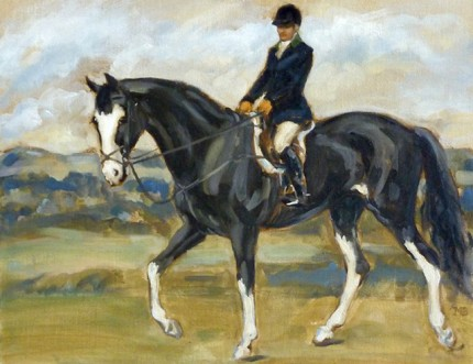 """Woman on a Black and White Horse"" The Millbrook Hunt, Oil on archival linen board, 11 x 14 inches, Signed"