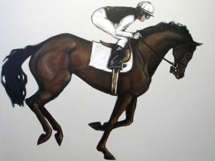 """""""The Race"""" Oil on canvas, 48 x 64 inches, Signed"""