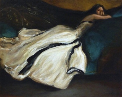 """Woman on a Sofa"" 2014, Variation on Repose by John White Alexander, Oil on linen board, 16 x 20 inches, Signed"
