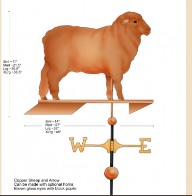 """Merino Sheep Weathervane"" Cooper, Swell-bodied style, Glass eyes in brown with pupils 