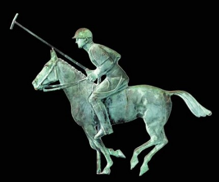 """Molded Copper Polo Player Weathervane"" American 20th Century, Molded in the form of a polo pony with rider in helmet, full playing gear, and mallet raised, the pony with articulated musculature and facial details, full tack and galloping, 36 x 47 x 2 inches, CUSTOM ORDERS AVAILABLE"