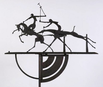 "William Hunt Diederich (1884-1953) ""Polo Players Weathervane"" c.1926, Wrought iron and sheet iron, 86 x 46 x 23.5 inches"