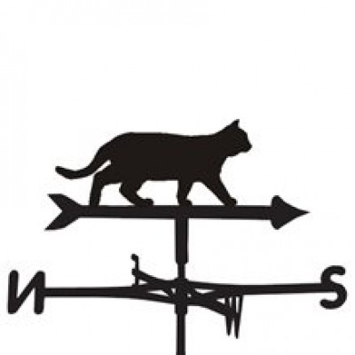 Silhouetted Prowling Cat Weathervane