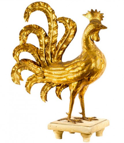 """Rooster"" French, c. 1950s, Gilt & Copper, 33 x 23 x 14 inches, Good condition"