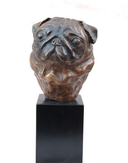 """Pug Head Study I"" Edition of 200, Bronze or Resin, Height including Base: 5.90 inches"