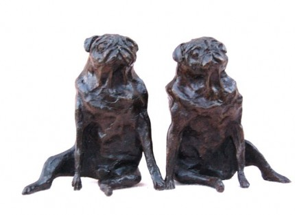 """Sitting Pugs"" Pair, Edition of 50, Bronze or Resin, Height: 4.75 inches, Signed"