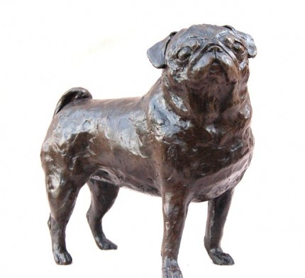 """Standing Pug"" Edition 200, Bronze or Resin, 7.85 inches, Signed"