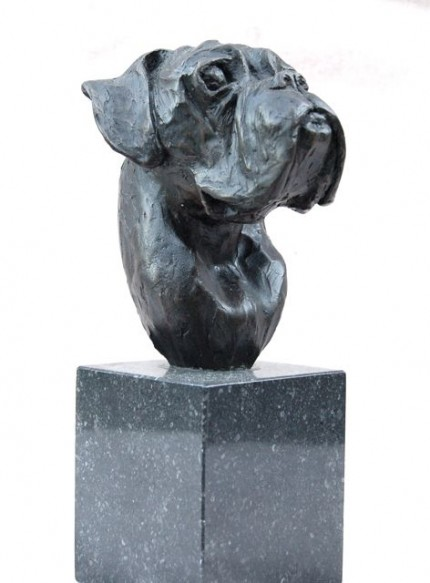 """Boxer Head Study I"" Bronze, Edition of 10 (1 artist copy), Height including base: 11.82 inches, Signed"