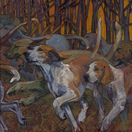 """""""Kennel Bound"""" 2010, Oil on linen, 40 x 40 inches, Signed"""