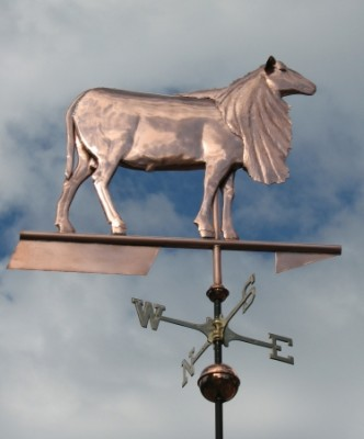 """St. Croix Sheep Weathervane"" Cooper, Handmade glass available in a variety of colors, Optional: Inscription or gilded lettering in gold or palladium leaf to the crossbar. 