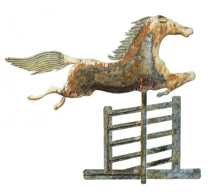 """Steeplechase Weathervane"" 1852-1867, Molded copper and mixed metals, 32 x 34 inches"