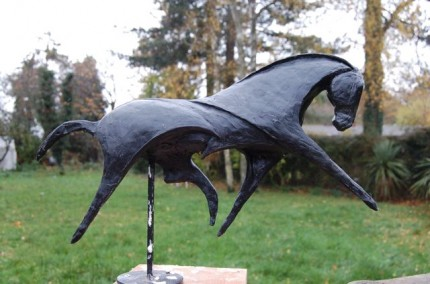 """Extended Trot II"" Contemporary Equestrian Maquette for Bronze, 11 x 15.75 inches, Signed"