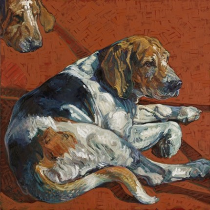 """""""Waiting"""" 2010, Oil on linen, 30 x 30 inches, Signed"""