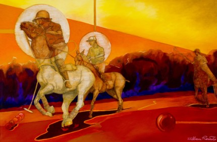 """Polo Summer"" 2010, Mixed media, 24 x 36 inches, Signed"