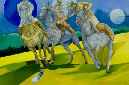 """Polo Moonlight"" 2010, Mixed media, 24 x 36 inches, Signed"