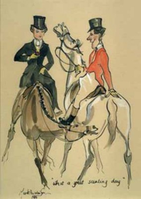 """""""What A Great Scenting Day"""" Lady riding side saddle meets a gent out hunting. MH038"""