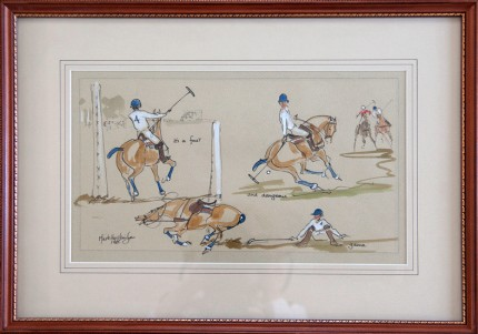 """""""Polo"""" Watercolour on paper, 9 x 16 inches, 16 x 23 inches, Inscribed Signed & Dated 1985 