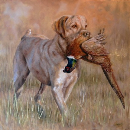 """The Retrieve I - Pheasant"" 2009, Oil on canvas, 20 x 20 inches, Signed"