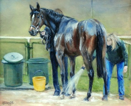 """Hosing Down, Haydock"" 2010, Oil on canvas, 10 x 12 inches, Signed & Framed"