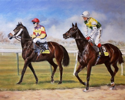 """On their toes, Aintree"" Oil on canvas, 16 x 20 inches, Signed & Framed"