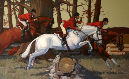 """The Call of the Hunt"" Acrylic on canvas, 30 x 48 inches, Signed"