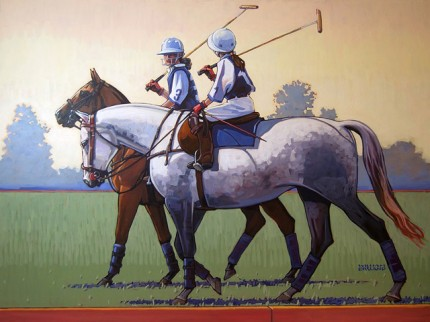 """Polo's Future"" Acrylic on canvas, 30 x 40 inches, Signed"