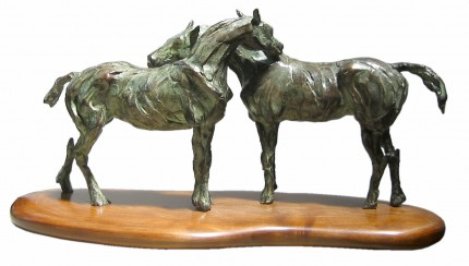 """""""Scratchy"""" Bronze, Direct wax casting, 9 x 18 x 5 inches, Signed"""