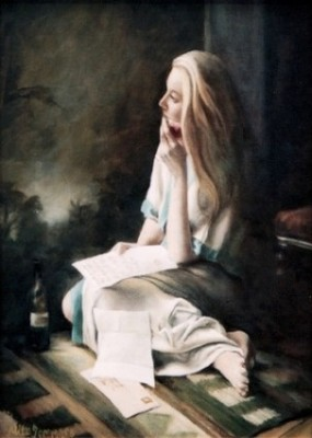 """The Letter"" Oil on stretched canvas, 16 x 12 inches, Signed, Bespoke frame"