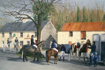 At the Beehive Bar-West Carbery Hunt, Oil on Canvas, 30 x 20""